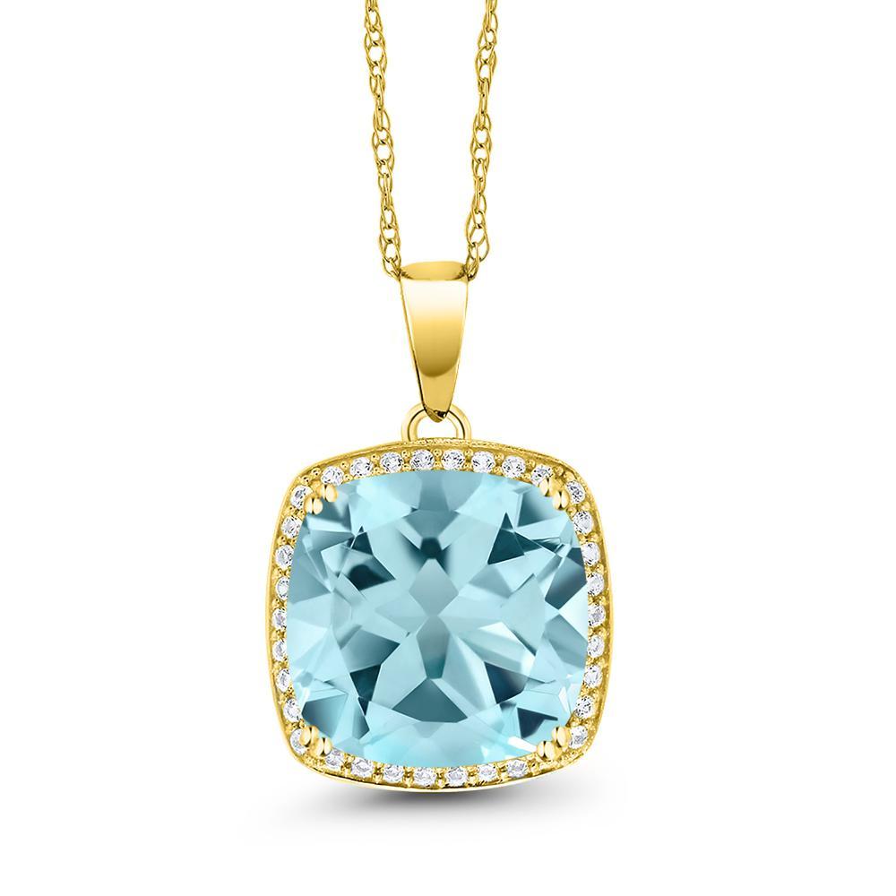 Gem Stone King 8.54カラット 天然 スカイブルートパーズ 天然 ダイヤモンド 10金 イエローゴールド(K10) ネックレス ペンダント レディース 大粒 大ぶり 天然石 11月 誕生石 金属アレルギー対応 誕生日プレゼント