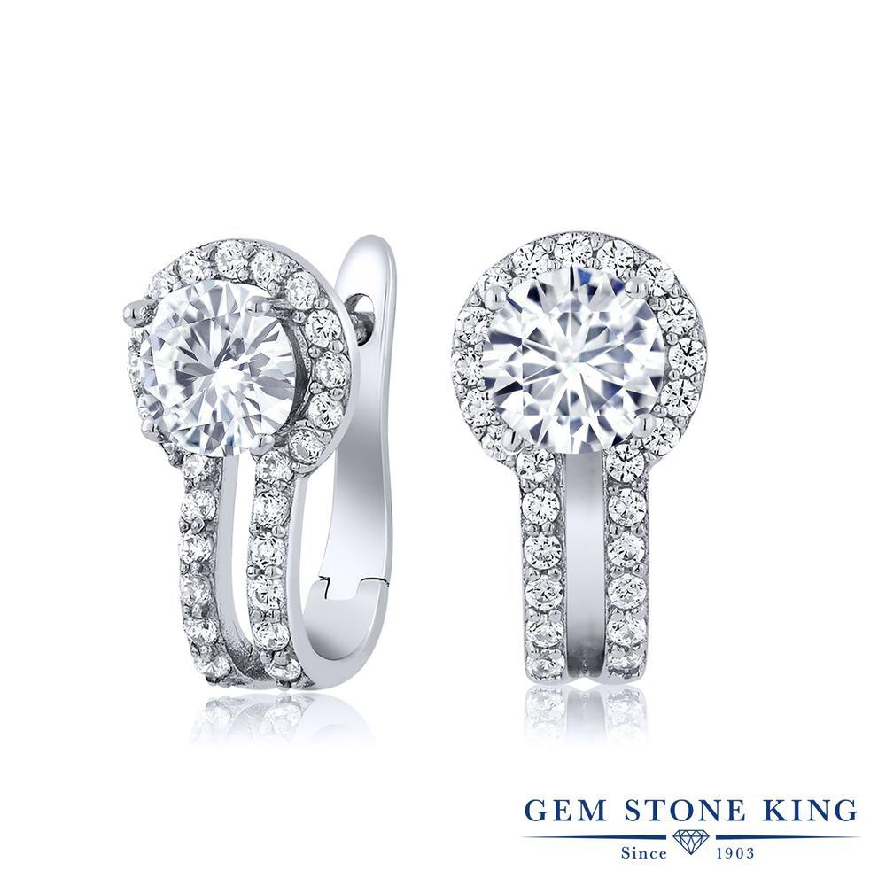 Gem Stone King 1.5カラット Forever Brilliant モアサナイト Charles & Colvard 合成ホワイトサファイア (ダイヤのような無色透明) シルバー925 ピアス レディース モアッサナイト 小粒 ぶら下がり フープ 金属アレルギー対応 誕生日プレゼント