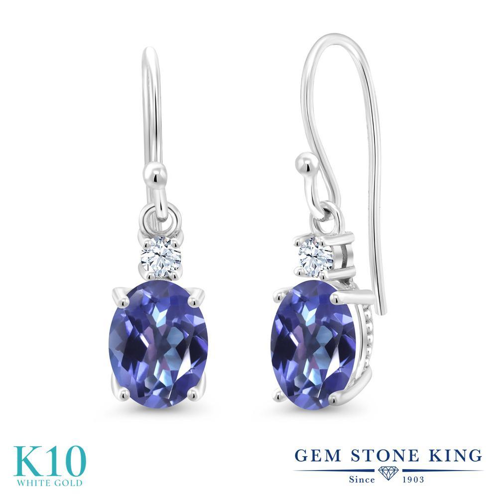 Gem Stone King 2.7カラット 天然 ミスティックトパーズ (タンザナイトブルー) 10金 ホワイトゴールド(K10) ピアス レディース 大粒 ぶら下がり フレンチワイヤー 天然石 金属アレルギー対応 誕生日プレゼント