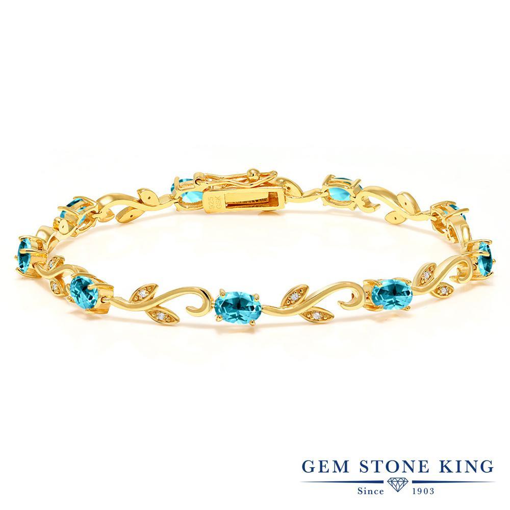 Gem Stone King 9.13カラット 天然石 パライバトパーズ (スワロフスキー 天然石シリーズ) 天然 ダイヤモンド シルバー925 イエローゴールドコーティング ブレスレット テニスブレスレット レディース 大粒 天然石 金属アレルギー対応 誕生日プレゼント