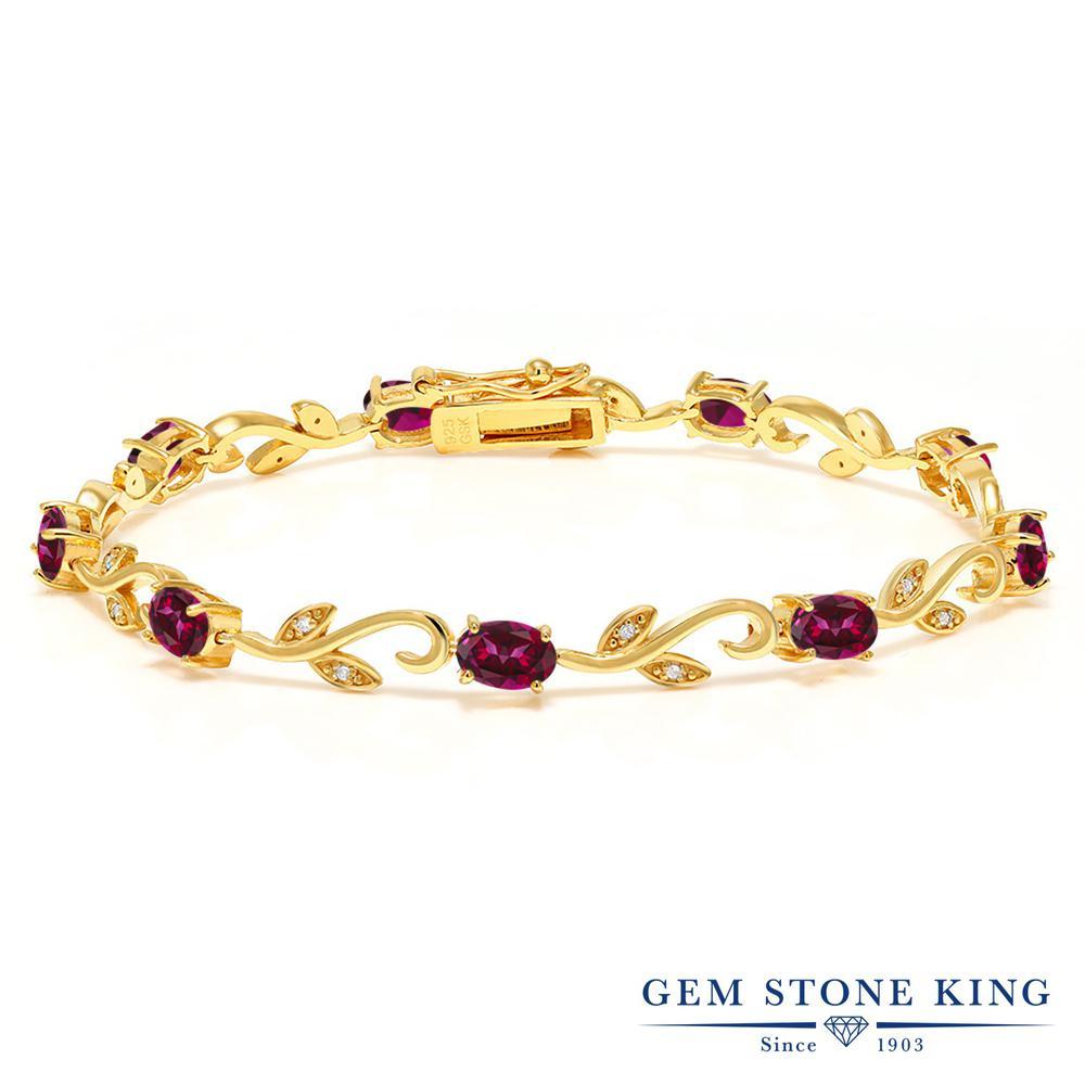 Gem Stone King 4.63カラット 天然石 レッドトパーズ (スワロフスキー 天然石シリーズ) 天然 ダイヤモンド シルバー925 イエローゴールドコーティング ブレスレット テニスブレスレット レディース 小粒 天然石 金属アレルギー対応 誕生日プレゼント