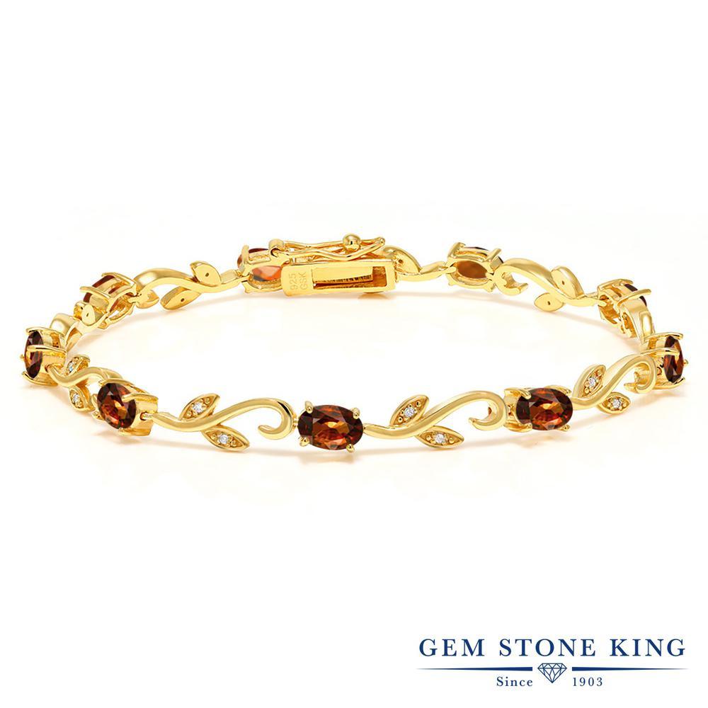 Gem Stone King 6.64カラット 天然石 ジルコン (ブラウン) 天然 ダイヤモンド シルバー925 イエローゴールドコーティング ブレスレット テニスブレスレット レディース 天然石 金属アレルギー対応 誕生日プレゼント