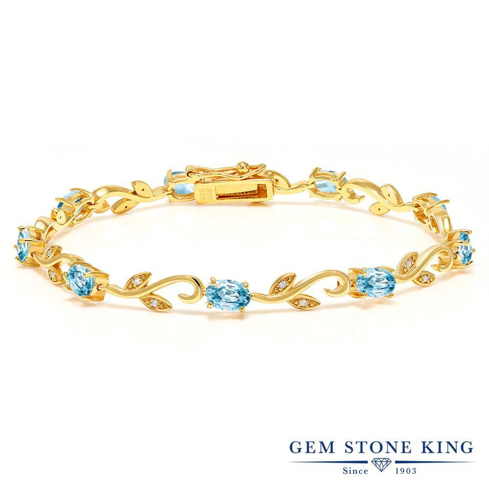 Gem Stone King 6.88カラット 天然石 ブルージルコン 天然 ダイヤモンド シルバー925 イエローゴールドコーティング ブレスレット テニスブレスレット レディース 天然石 12月 誕生石 金属アレルギー対応 誕生日プレゼント