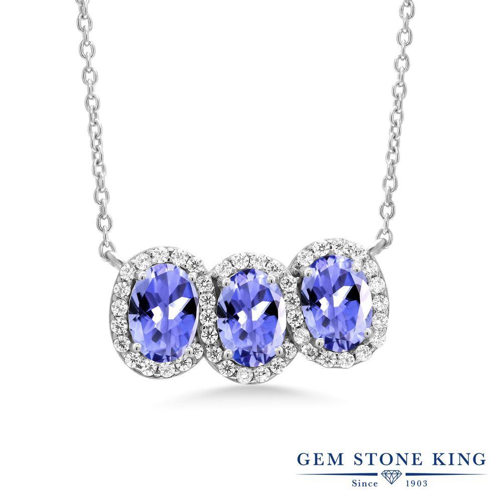 Gem Stone King 2.7カラット 天然石 タンザナイト シルバー925 ネックレス レディース 天然石 12月 誕生石 金属アレルギー対応 誕生日プレゼント
