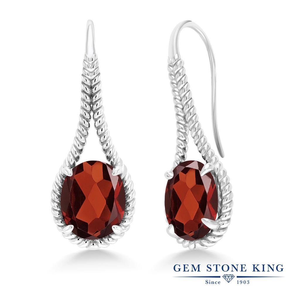 Gem Stone King 11.2カラット 天然 ガーネット シルバー925 ピアス レディース 大粒 シンプル ぶら下がり フレンチワイヤー 天然石 1月 誕生石 金属アレルギー対応 誕生日プレゼント