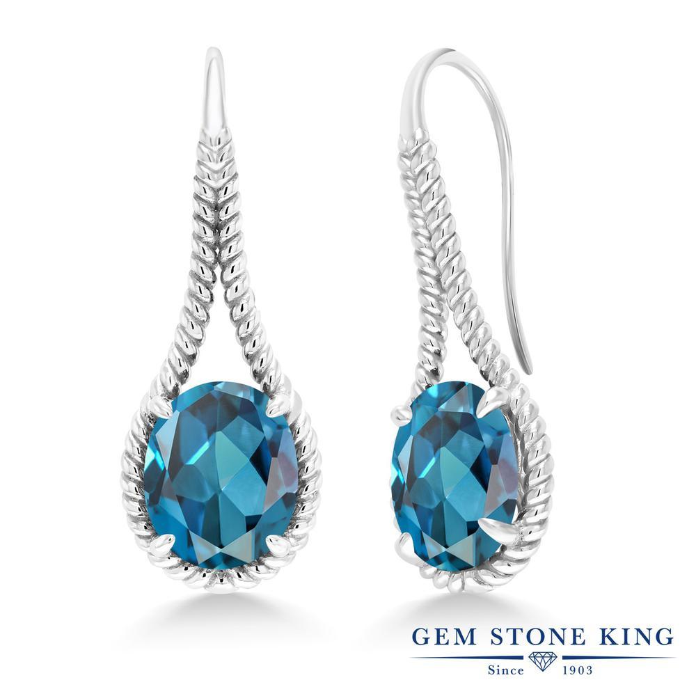 Gem Stone King 10.4カラット 天然 ロンドンブルートパーズ シルバー925 ピアス レディース 大粒 シンプル ぶら下がり フレンチワイヤー 天然石 11月 誕生石 金属アレルギー対応 誕生日プレゼント