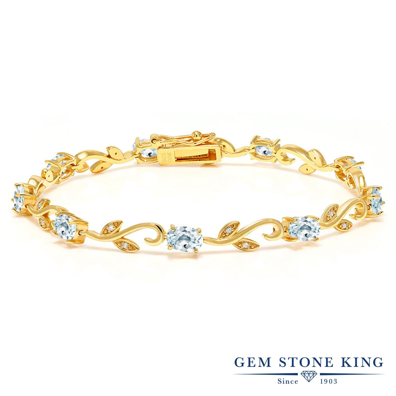 Gem Stone King 4カラット 天然 アクアマリン 天然 ダイヤモンド シルバー925 イエローゴールドコーティング ブレスレット テニスブレスレット レディース 小粒 天然石 3月 誕生石 金属アレルギー対応 誕生日プレゼント