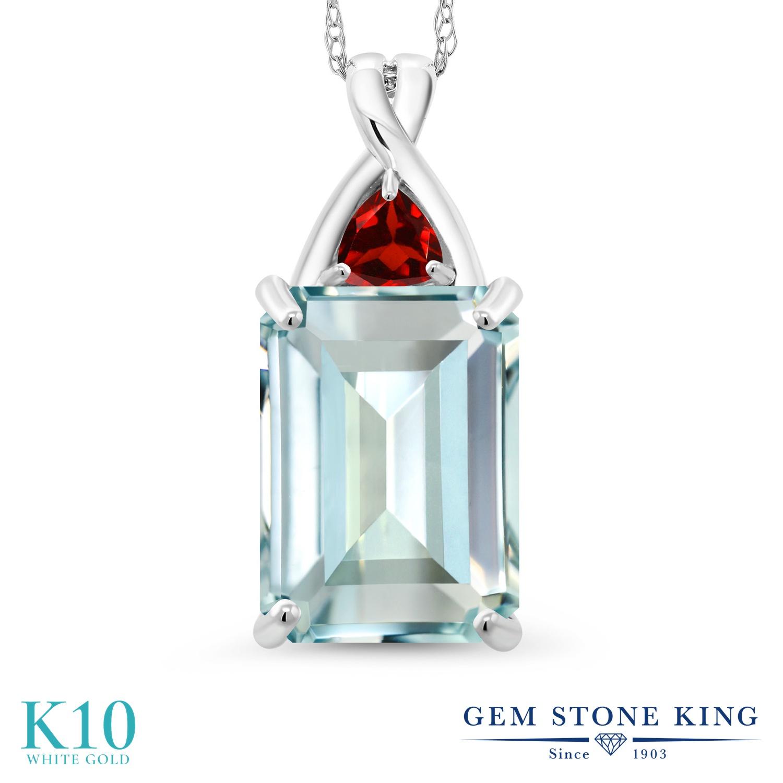 Gem Stone King 6.98カラット シミュレイテッド アクアマリン 天然 ガーネット 10金 ホワイトゴールド(K10) ネックレス ペンダント レディース 大粒 シンプル 金属アレルギー対応 誕生日プレゼント