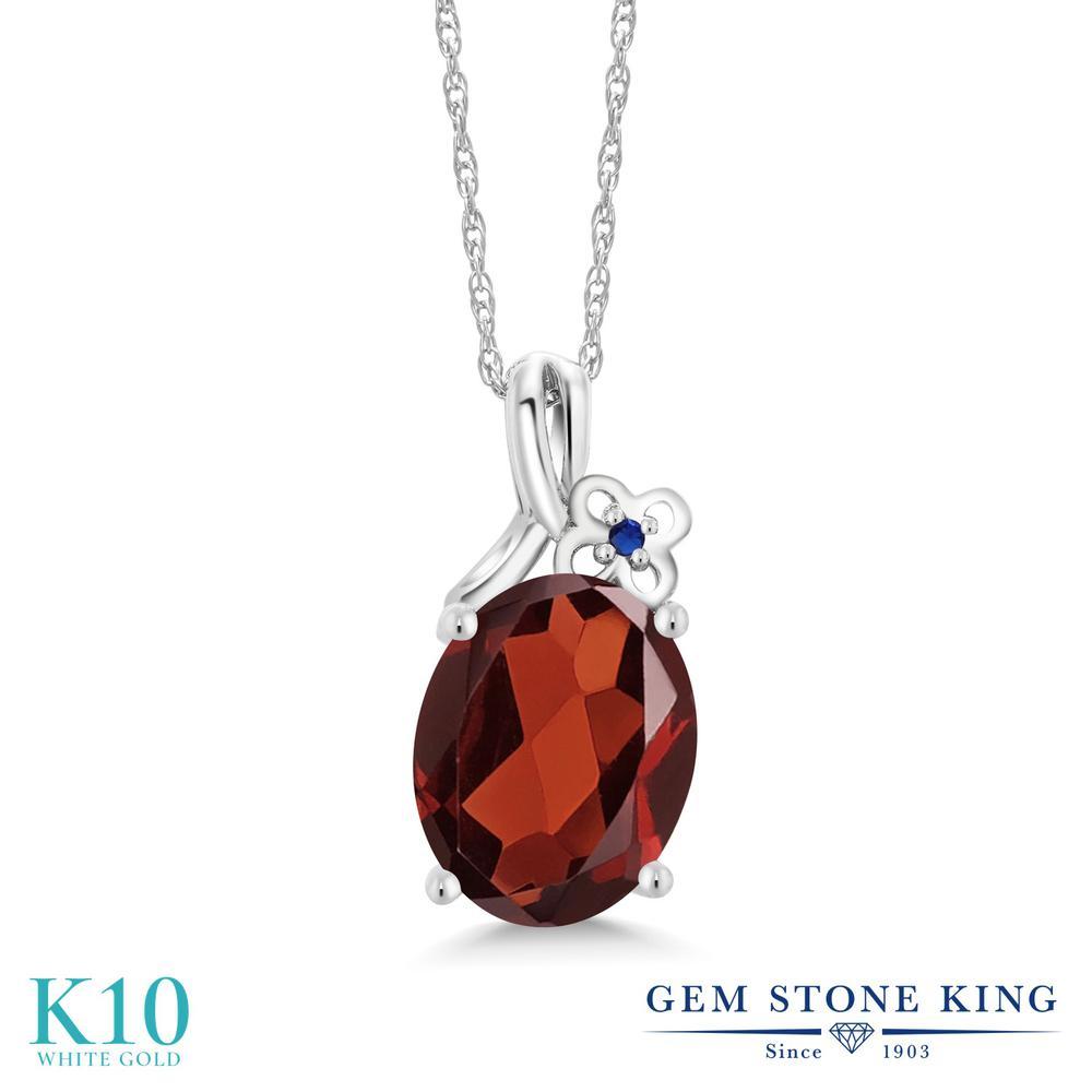 Gem Stone King 2.51カラット 天然 ガーネット シミュレイテッド サファイア 10金 ホワイトゴールド(K10) ネックレス ペンダント レディース 大粒 シンプル 天然石 1月 誕生石 金属アレルギー対応 誕生日プレゼント