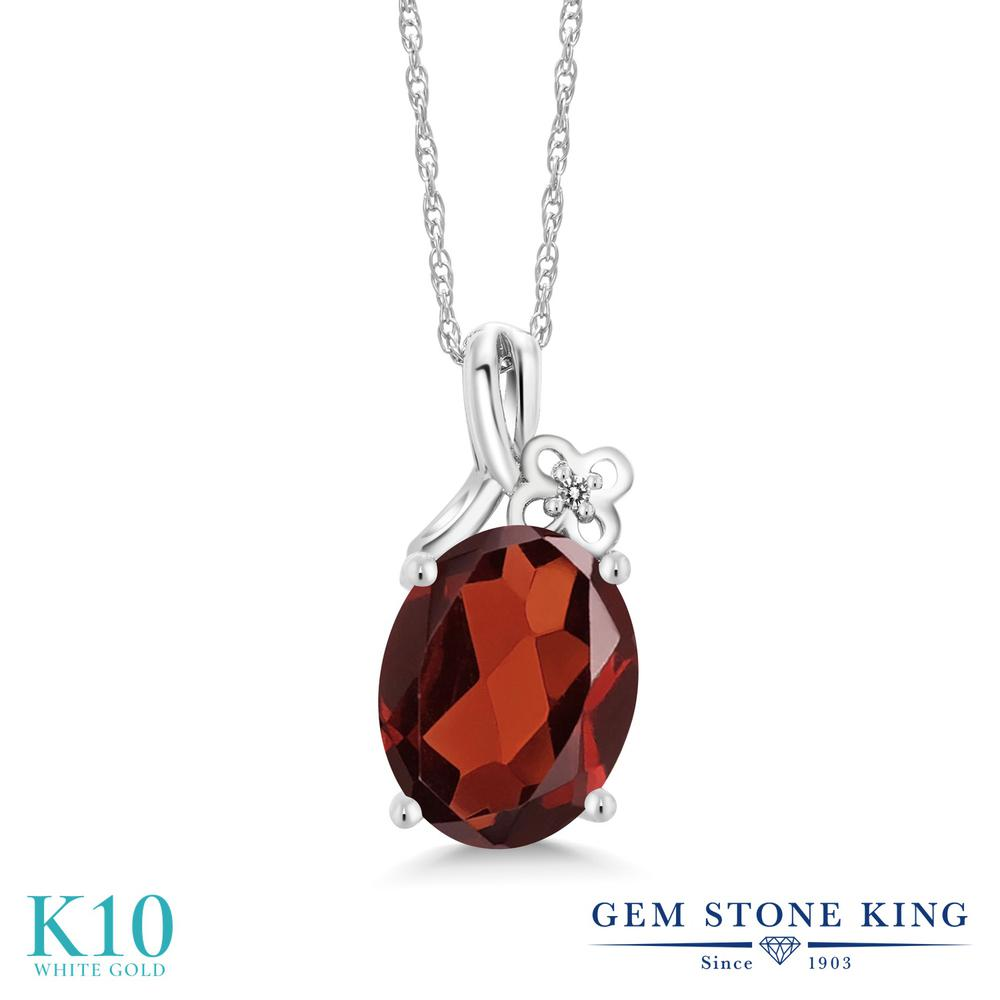 Gem Stone King 2.51カラット 天然 ガーネット 天然 ダイヤモンド 10金 ホワイトゴールド(K10) ネックレス ペンダント レディース 大粒 シンプル 天然石 1月 誕生石 金属アレルギー対応 誕生日プレゼント