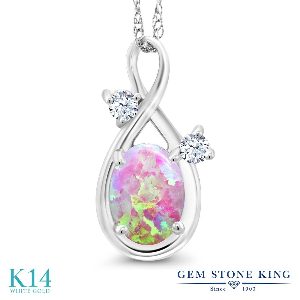 Gem Stone King 0.71カラット シミュレイテッド ピンクオパール 合成ホワイトサファイア (ダイヤのような無色透明) 14金 ホワイトゴールド(K14) ネックレス ペンダント レディース シンプル 10月 誕生石 金属アレルギー対応 誕生日プレゼント