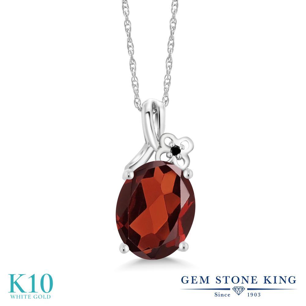 Gem Stone King 2.51カラット 天然 ガーネット 天然ブラックダイヤモンド 10金 ホワイトゴールド(K10) ネックレス ペンダント レディース 大粒 シンプル 天然石 1月 誕生石 金属アレルギー対応 誕生日プレゼント