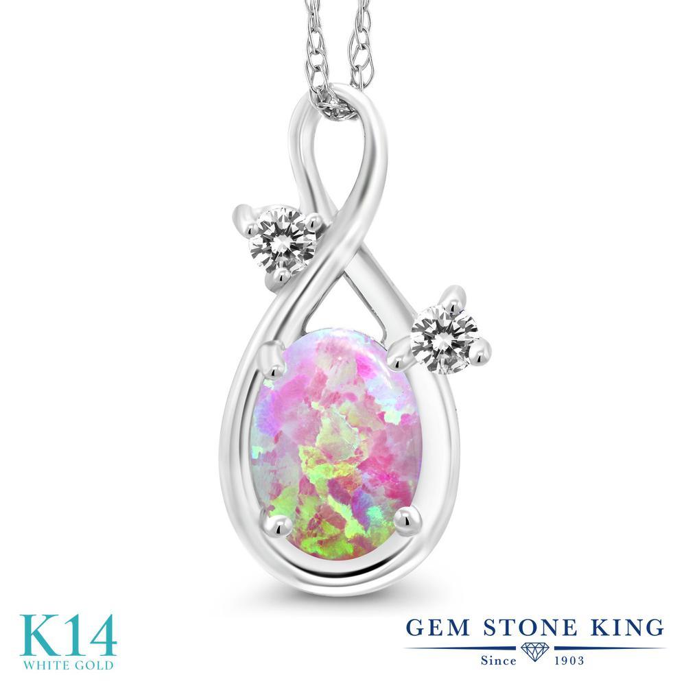 Gem Stone King 0.7カラット シミュレイテッド ピンクオパール 天然 ダイヤモンド 14金 ホワイトゴールド(K14) ネックレス ペンダント レディース シンプル 10月 誕生石 金属アレルギー対応 誕生日プレゼント