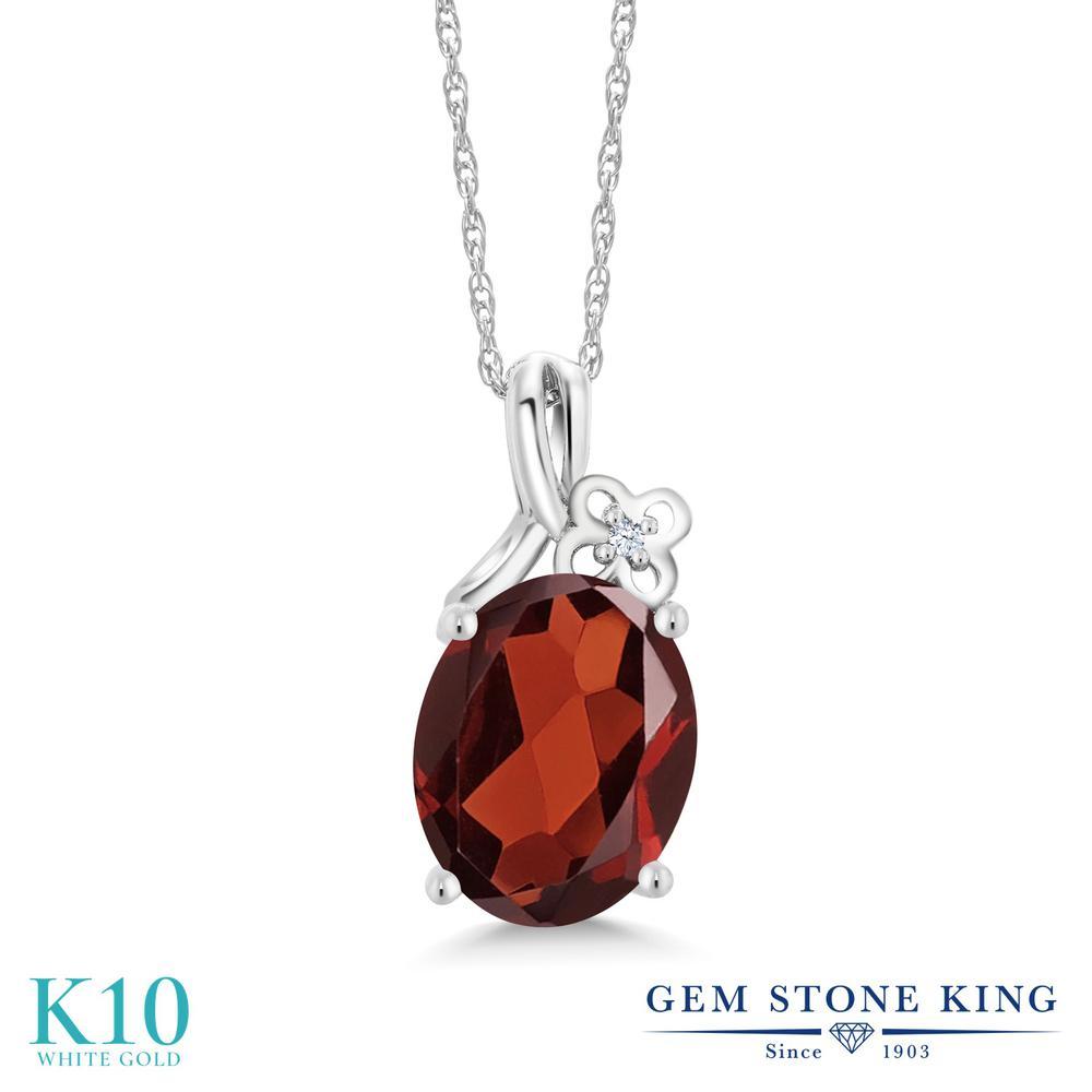 Gem Stone King 2.51カラット 天然 ガーネット 合成ホワイトサファイア (ダイヤのような無色透明) 10金 ホワイトゴールド(K10) ネックレス ペンダント レディース 大粒 シンプル 天然石 1月 誕生石 金属アレルギー対応 誕生日プレゼント