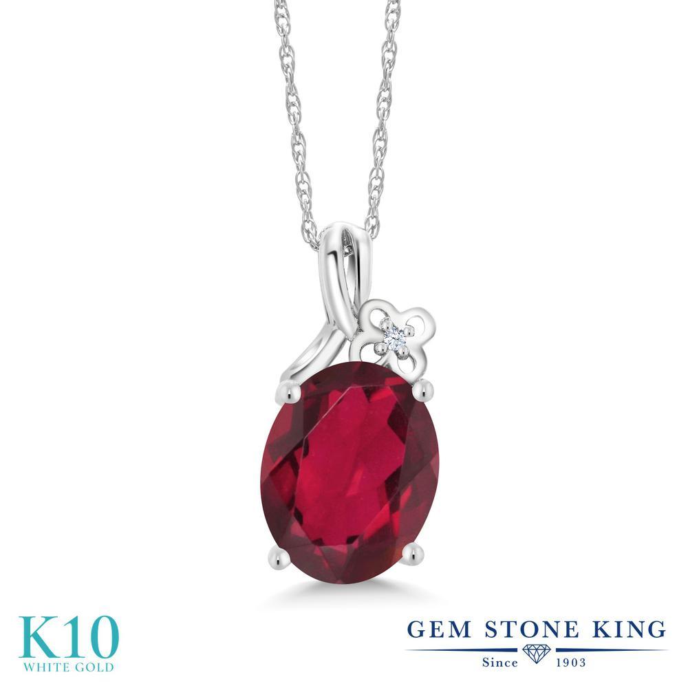 Gem Stone King 2.71カラット 天然 ミスティッククォーツ (ルビーレッド) 合成ホワイトサファイア (ダイヤのような無色透明) 10金 ホワイトゴールド(K10) ネックレス ペンダント レディース 大粒 シンプル 天然石 金属アレルギー対応 誕生日プレゼント