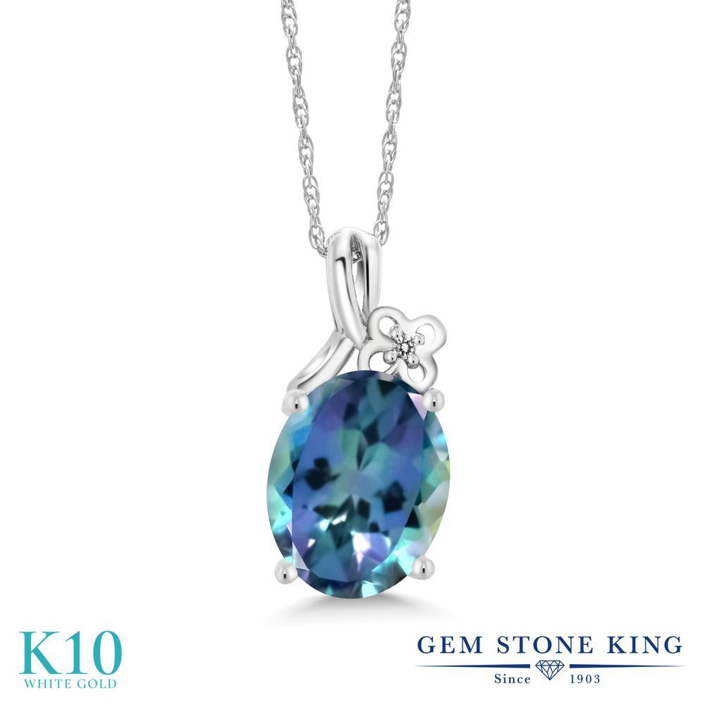 Gem Stone King 0.01カラット 天然 ミスティックトパーズ (ミレニアムブルー) 天然 ダイヤモンド 10金 ホワイトゴールド(K10) ネックレス ペンダント レディース 小粒 シンプル 天然石 金属アレルギー対応 誕生日プレゼント