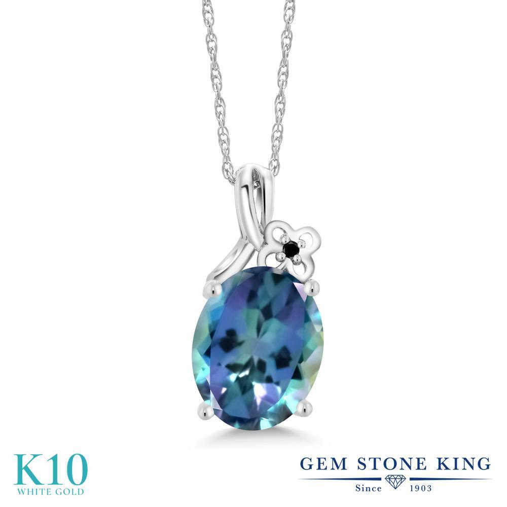 Gem Stone King 0.01カラット 天然 ミスティックトパーズ (ミレニアムブルー) 天然ブラックダイヤモンド 10金 ホワイトゴールド(K10) ネックレス ペンダント レディース 小粒 シンプル 天然石 金属アレルギー対応 誕生日プレゼント