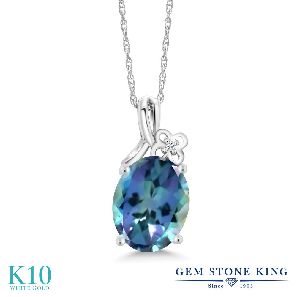 Gem Stone King 0.01カラット 天然 ミスティックトパーズ (ミレニアムブルー) 天然 トパーズ (無色透明) 10金 ホワイトゴールド(K10) ネックレス ペンダント レディース 小粒 シンプル 天然石 金属アレルギー対応 誕生日プレゼント