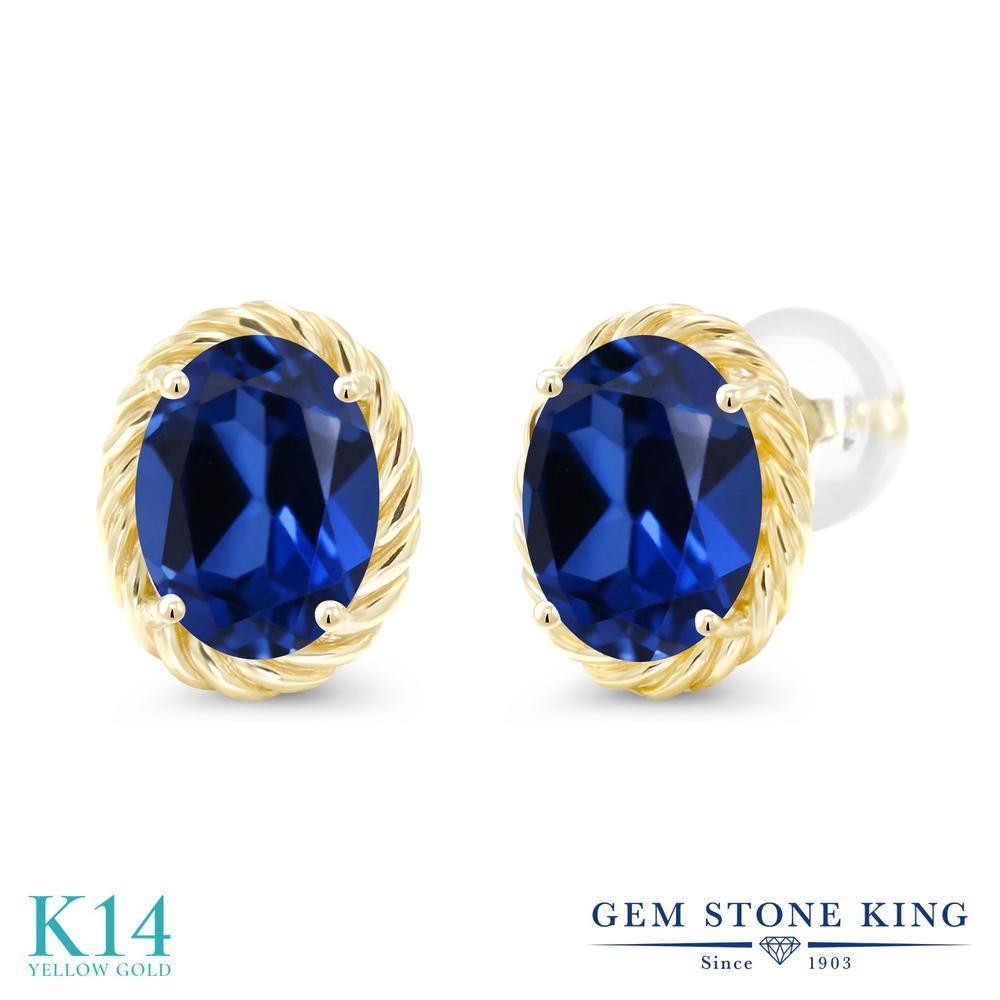 Gem Stone King 3.2カラット シミュレイテッド サファイア 14金 イエローゴールド(K14) ピアス レディース 大粒 シンプル スタッド 金属アレルギー対応 誕生日プレゼント