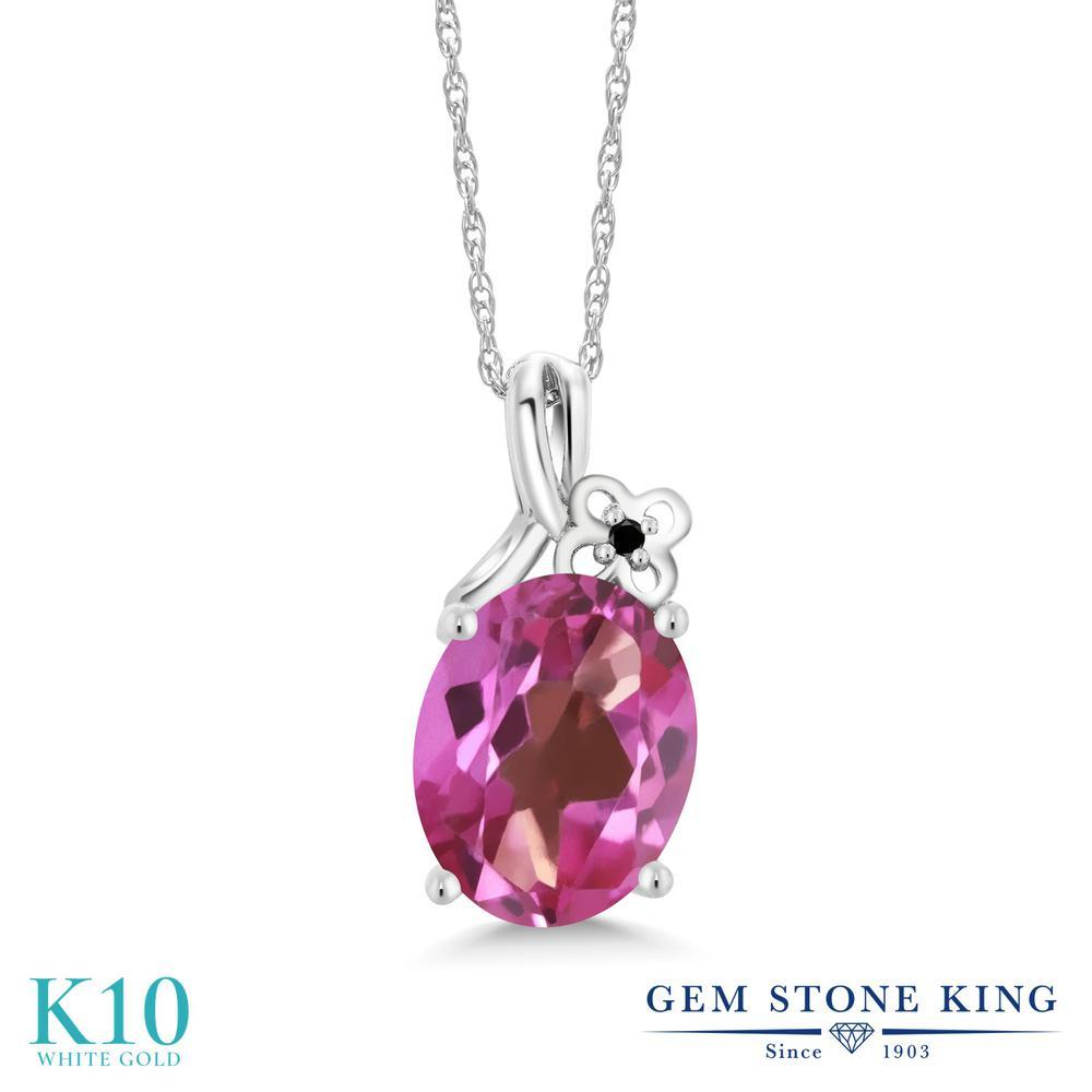 Gem Stone King 2.71カラット 天然 ミスティックトパーズ (ピンク) 天然ブラックダイヤモンド 10金 ホワイトゴールド(K10) ネックレス ペンダント レディース 大粒 シンプル 天然石 金属アレルギー対応 誕生日プレゼント