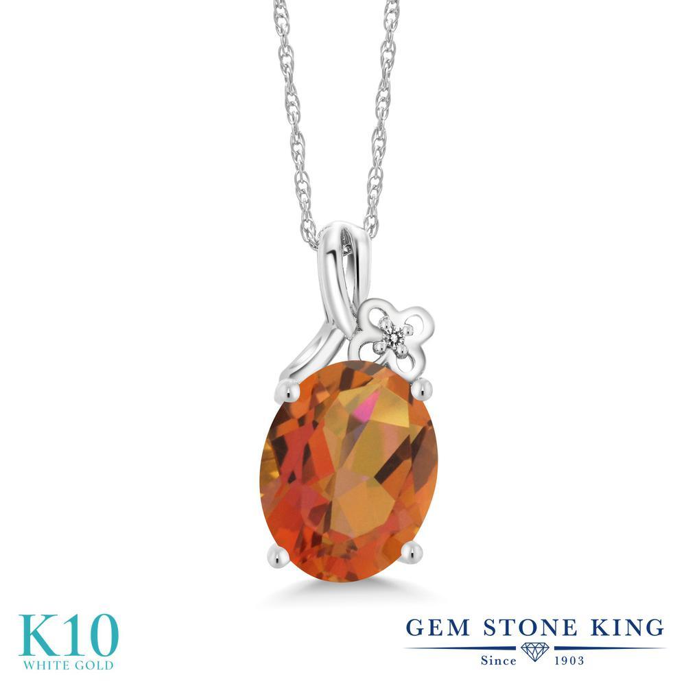 Gem Stone King 2.71カラット 天然 ミスティッククォーツ (トワイライトオレンジ) 天然 ダイヤモンド 10金 ホワイトゴールド(K10) ネックレス ペンダント レディース 大粒 シンプル 天然石 金属アレルギー対応 誕生日プレゼント