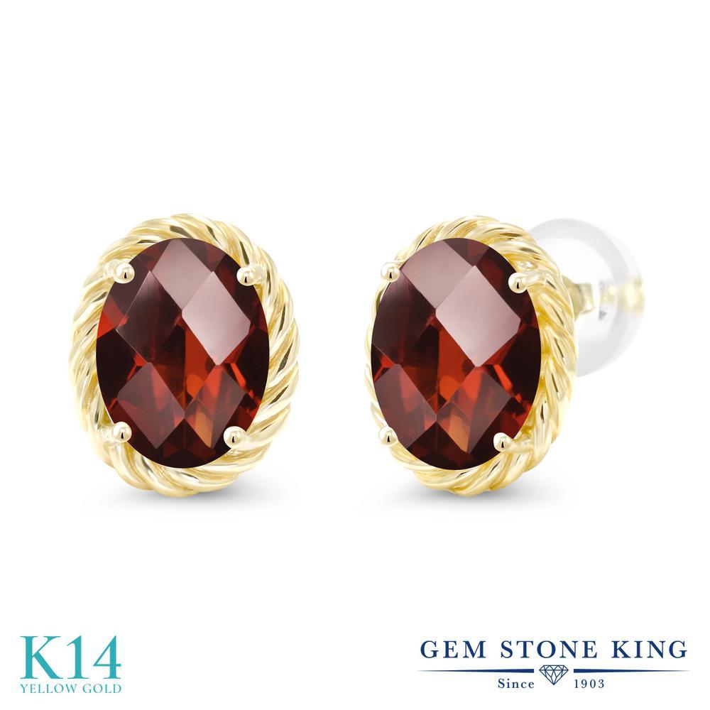 Gem Stone King 2.8カラット 天然 ガーネット 14金 イエローゴールド(K14) ピアス レディース 大粒 シンプル スタッド 天然石 1月 誕生石 金属アレルギー対応 誕生日プレゼント