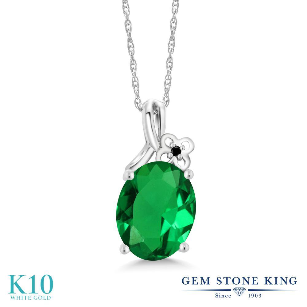 Gem Stone King 2.21カラット ナノエメラルド 天然ブラックダイヤモンド 10金 ホワイトゴールド(K10) ネックレス ペンダント レディース 大粒 シンプル 金属アレルギー対応 誕生日プレゼント