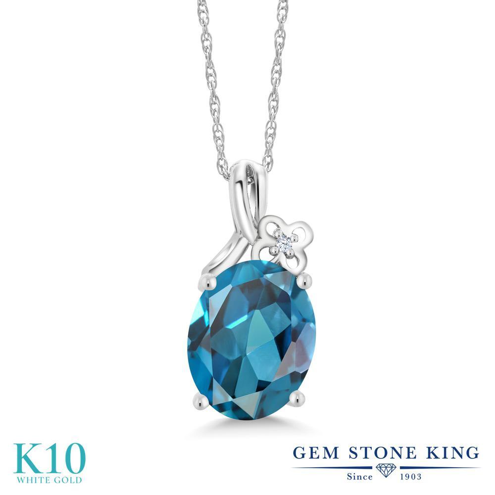 Gem Stone King 2.81カラット 天然 ロンドンブルートパーズ 合成ホワイトサファイア (ダイヤのような無色透明) 10金 ホワイトゴールド(K10) ネックレス ペンダント レディース 大粒 シンプル 天然石 11月 誕生石 金属アレルギー対応 誕生日プレゼント