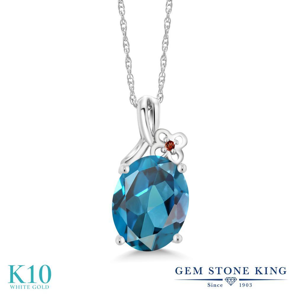 Gem Stone King 2.81カラット 天然 ロンドンブルートパーズ 天然 ガーネット 10金 ホワイトゴールド(K10) ネックレス ペンダント レディース 大粒 シンプル 天然石 11月 誕生石 金属アレルギー対応 誕生日プレゼント