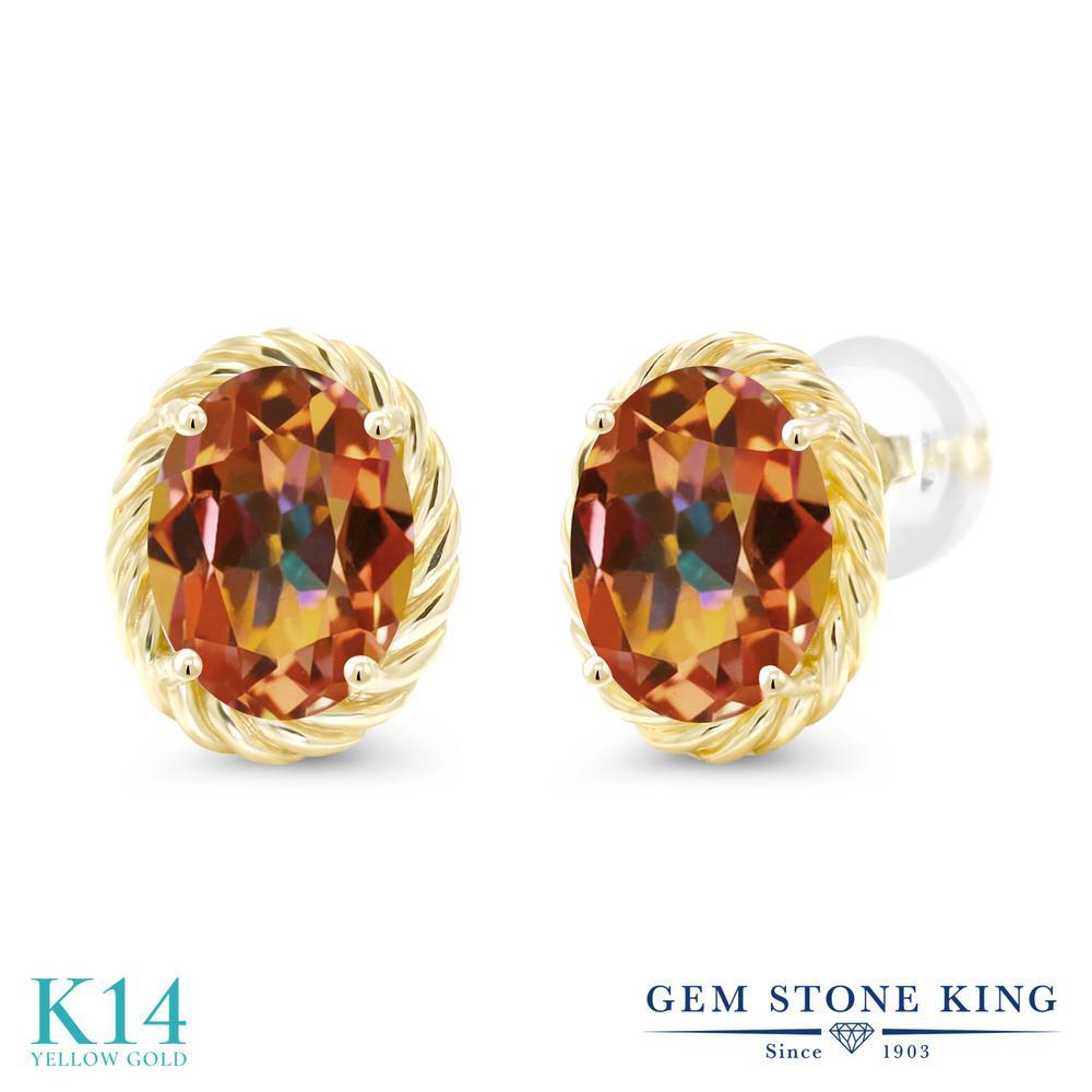Gem Stone King 2.6カラット 天然石 エクスタシーミスティックトパーズ 14金 イエローゴールド(K14) ピアス レディース 大粒 シンプル スタッド 天然石 金属アレルギー対応 誕生日プレゼント