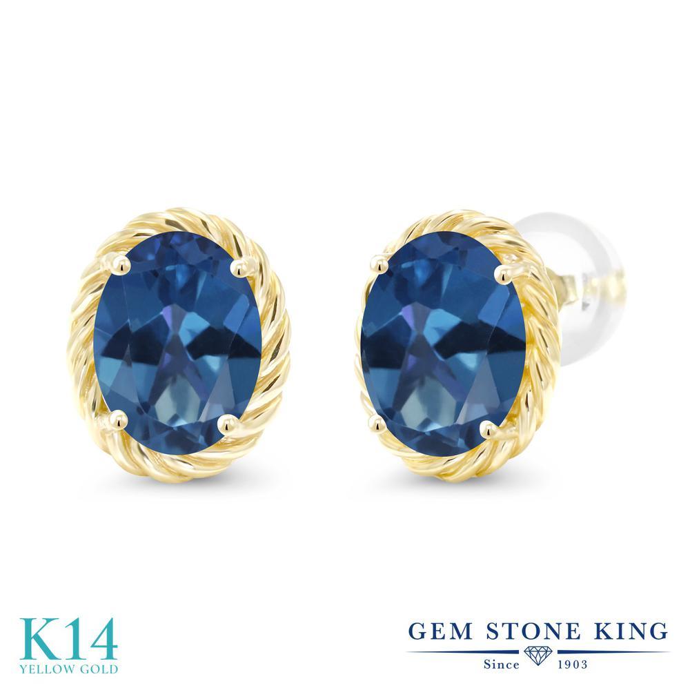 Gem Stone King 2.6カラット 天然 ミスティックトパーズ (サファイアブルー) 14金 イエローゴールド(K14) ピアス レディース 大粒 シンプル スタッド 天然石 金属アレルギー対応 誕生日プレゼント