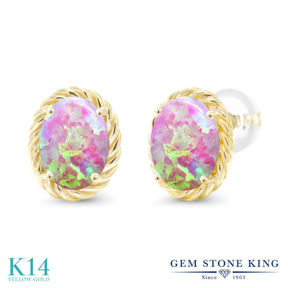 Gem Stone King 2.1カラット シミュレイテッド ピンクオパール 14金 イエローゴールド(K14) ピアス レディース 大粒 シンプル スタッド 10月 誕生石 金属アレルギー対応 誕生日プレゼント