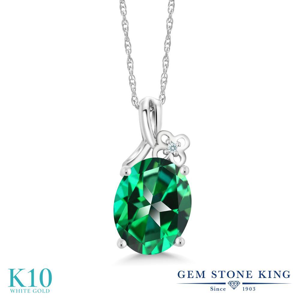 Gem Stone King 3.01カラット 天然石 トパーズ レインフォレスト (スワロフスキー 天然石シリーズ) 10金 ホワイトゴールド(K10) ネックレス ペンダント レディース 大粒 シンプル 天然石 金属アレルギー対応 誕生日プレゼント