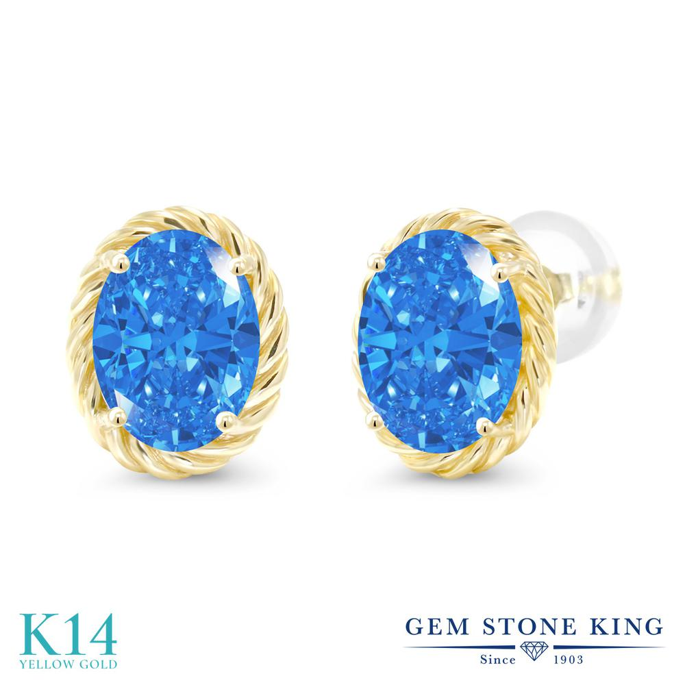 Gem Stone King スワロフスキージルコニア (ファンシーブルー) 14金 イエローゴールド(K14) ピアス レディース CZ 大粒 シンプル スタッド 金属アレルギー対応 誕生日プレゼント