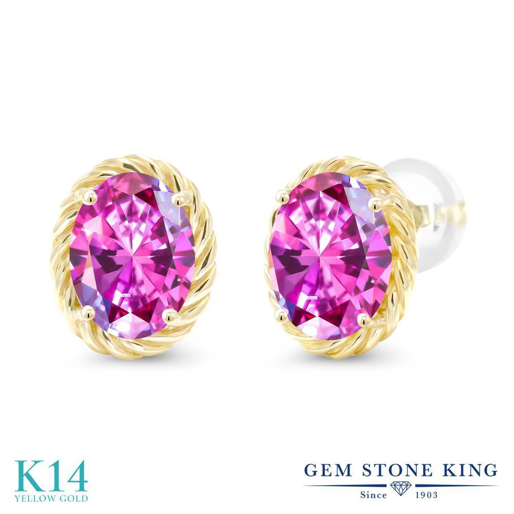 Gem Stone King スワロフスキージルコニア (ファンシーパープル) 14金 イエローゴールド(K14) ピアス レディース CZ 大粒 シンプル スタッド 金属アレルギー対応 誕生日プレゼント