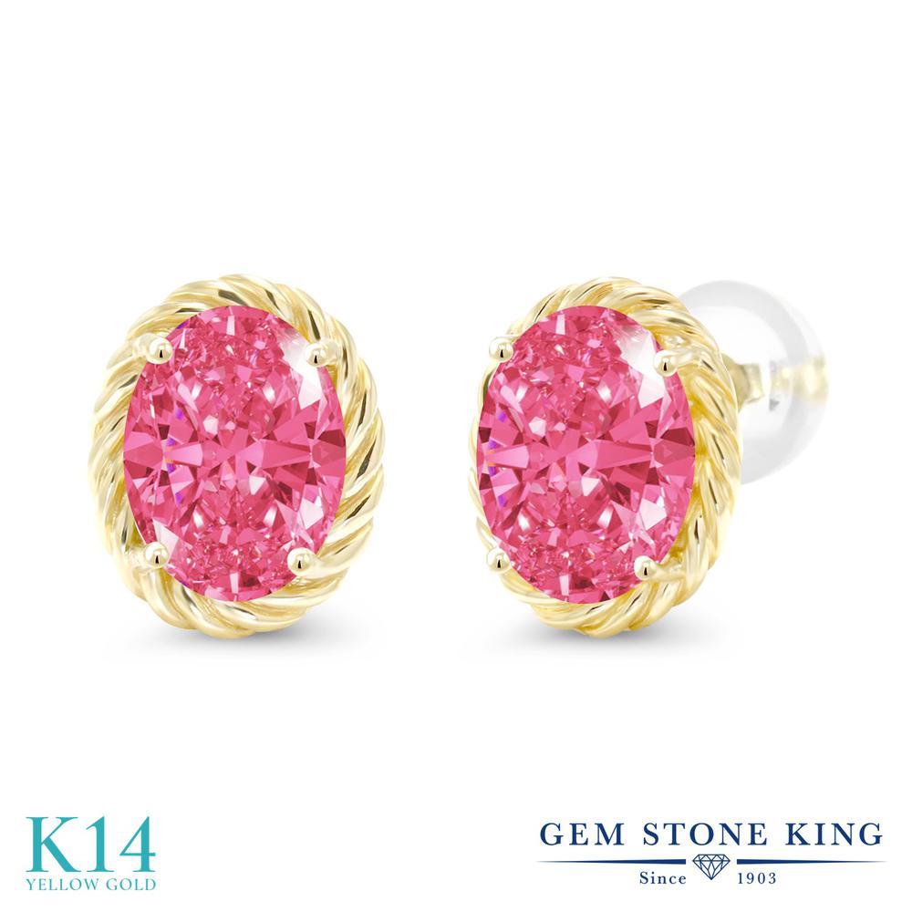 Gem Stone King スワロフスキージルコニア (ファンシーピンク) 14金 イエローゴールド(K14) ピアス レディース CZ 大粒 シンプル スタッド 金属アレルギー対応 誕生日プレゼント