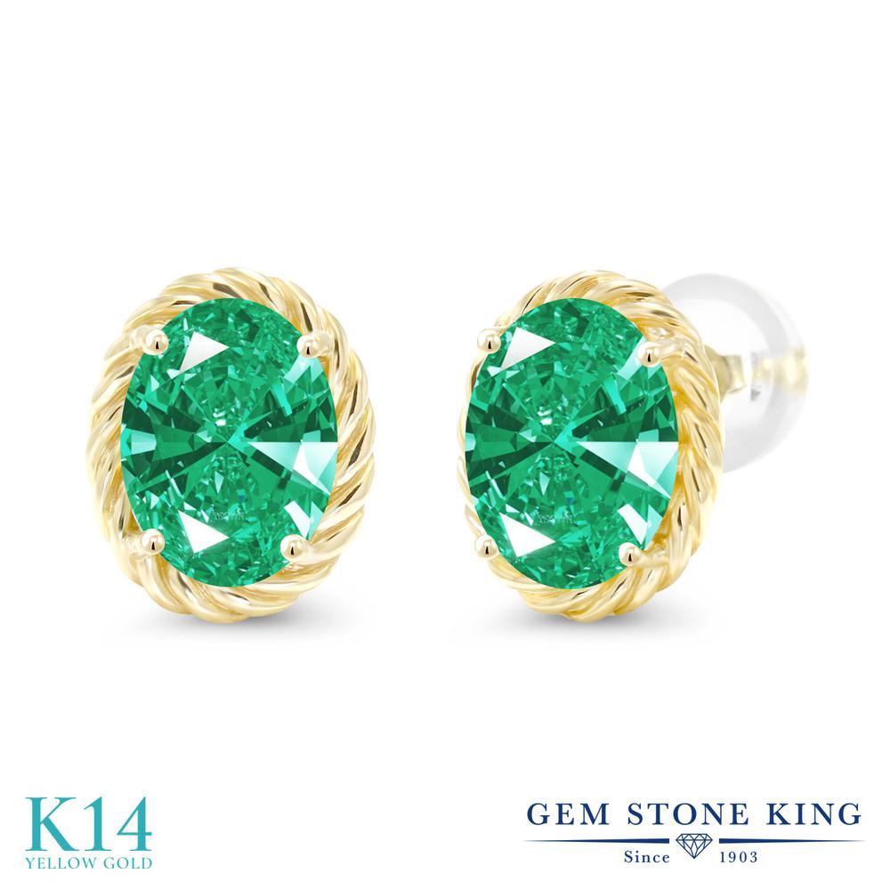 Gem Stone King スワロフスキージルコニア (グリーン) 14金 イエローゴールド(K14) ピアス レディース CZ 大粒 シンプル スタッド 金属アレルギー対応 誕生日プレゼント