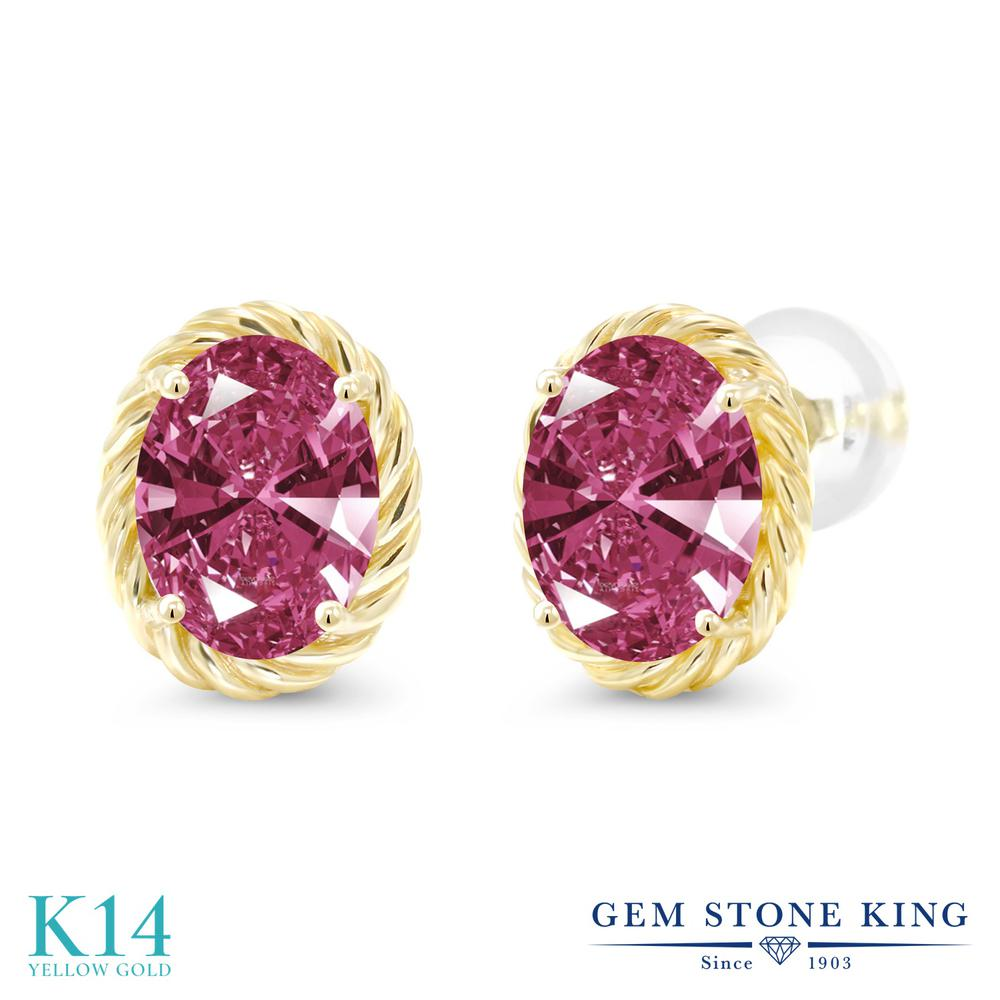 Gem Stone King スワロフスキージルコニア (レッド) 14金 イエローゴールド(K14) ピアス レディース CZ 大粒 シンプル スタッド 金属アレルギー対応 誕生日プレゼント
