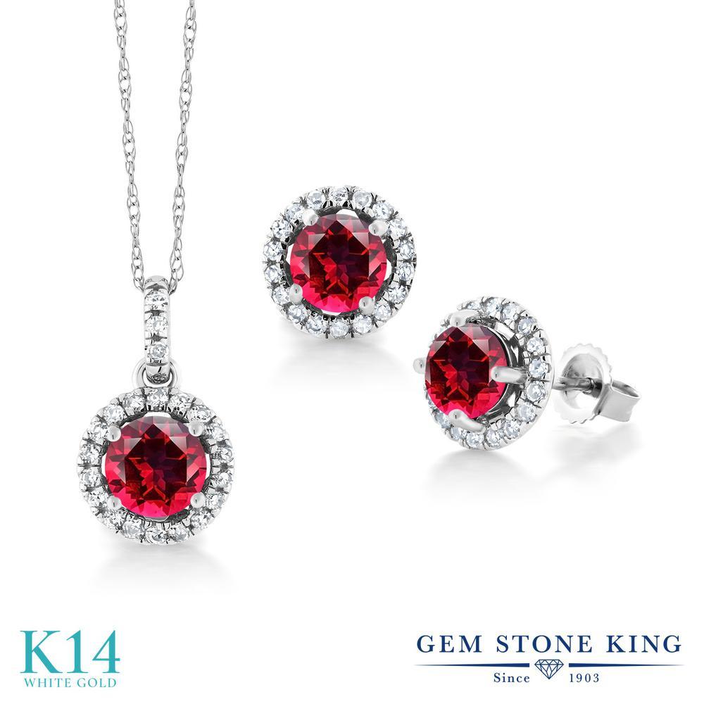 2.35カラット 天然石 レッドトパーズ (スワロフスキー 天然石) ペンダント&ピアスセット レディース 天然 ダイヤモンド 14金 ホワイトゴールド K14 ブランド おしゃれ ヘイロー 赤 プレゼント 女性 彼女 妻 誕生日