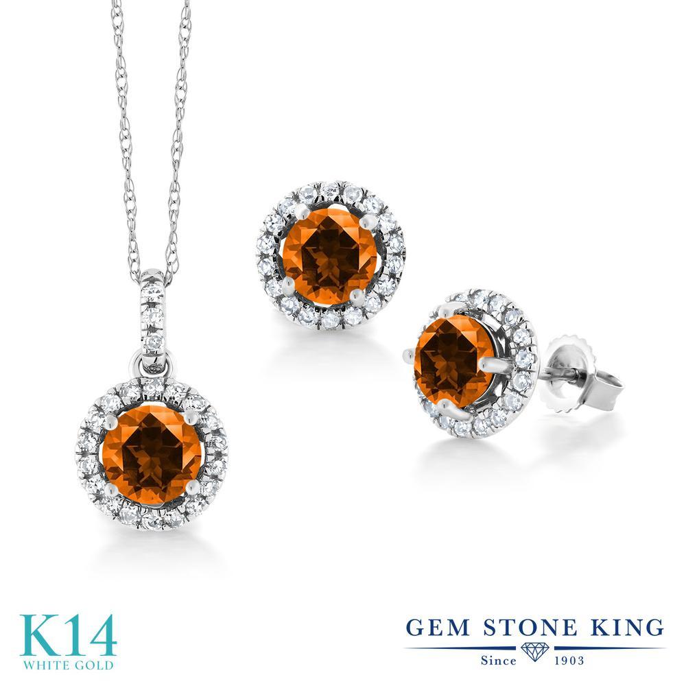 2.05カラット 天然石 トパーズ ポピー (スワロフスキー 天然石) ペンダント&ピアスセット レディース 天然 ダイヤモンド 14金 ホワイトゴールド K14 ブランド おしゃれ ヘイロー プレゼント 女性 彼女 妻 誕生日