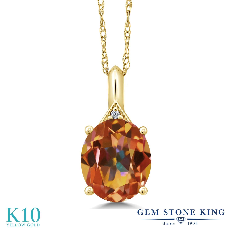 Gem Stone King 5.02カラット 天然石 エクスタシーミスティックトパーズ 天然 ダイヤモンド 10金 イエローゴールド(K10) ネックレス ペンダント レディース 大粒 シンプル 天然石 金属アレルギー対応 誕生日プレゼント