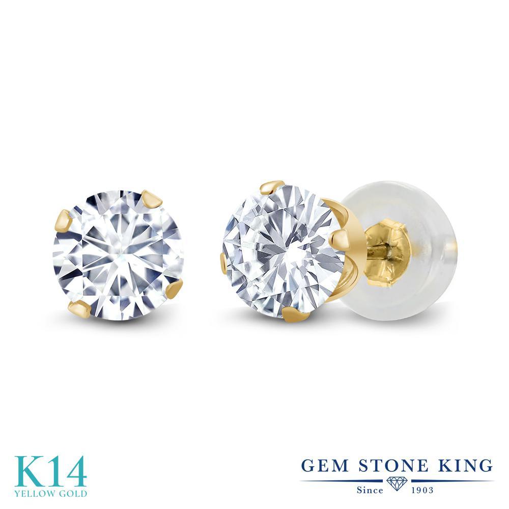 Gem Stone King 1カラット Forever Brilliant モアサナイト Charles & Colvard 14金 イエローゴールド(K14) ピアス レディース モアッサナイト 小粒 シンプル スタッド 華奢 細身 金属アレルギー対応 誕生日プレゼント