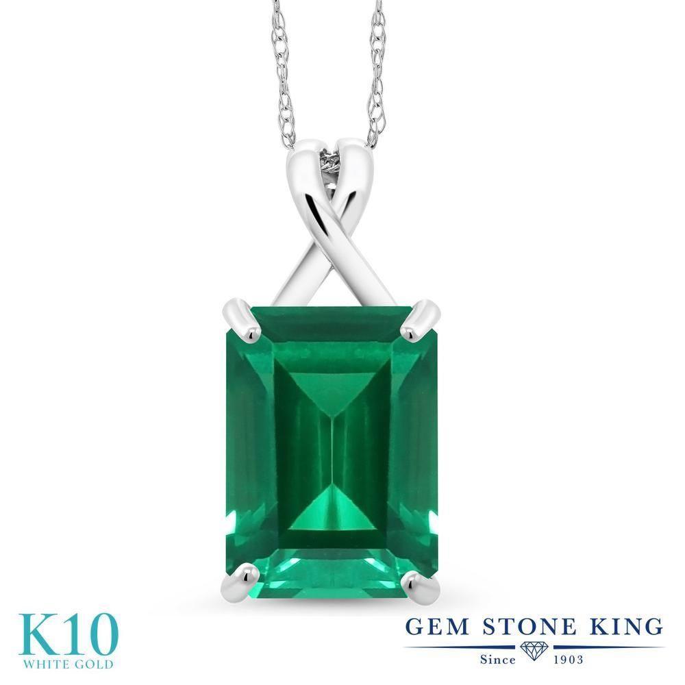 Gem Stone King 6.5カラット ナノエメラルド 10金 ホワイトゴールド(K10) ネックレス ペンダント レディース 大粒 一粒 シンプル 金属アレルギー対応 誕生日プレゼント