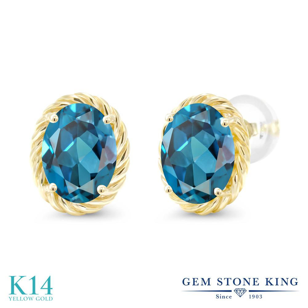 Gem Stone King 2.6カラット 天然 ロンドンブルートパーズ 14金 イエローゴールド(K14) ピアス レディース 大粒 シンプル スタッド 天然石 11月 誕生石 金属アレルギー対応 誕生日プレゼント