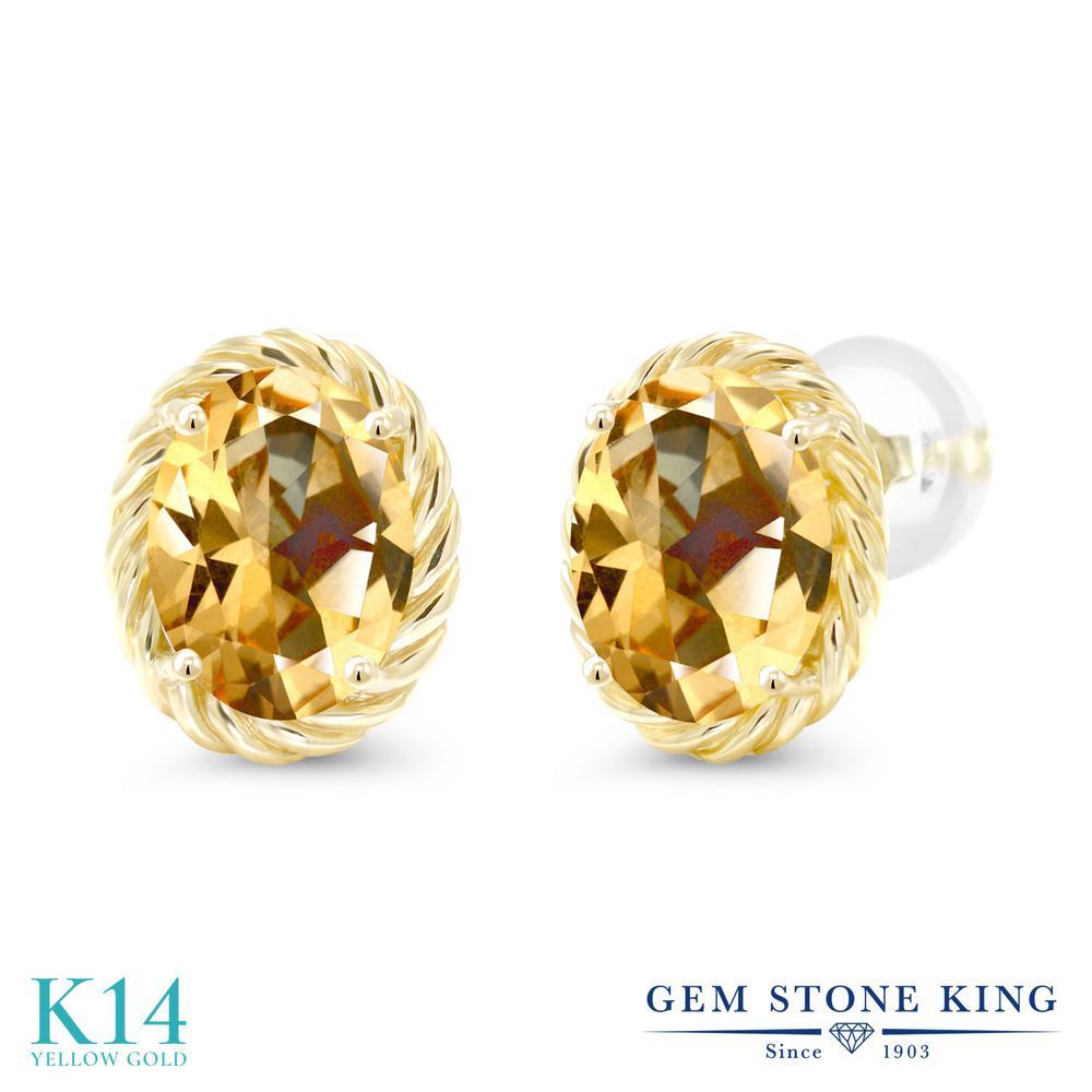 Gem Stone King 2.64カラット 天然石 トパーズ ハニースワロフスキー 14金 イエローゴールド(K14) ピアス レディース 大粒 シンプル スタッド 天然石 金属アレルギー対応 誕生日プレゼント