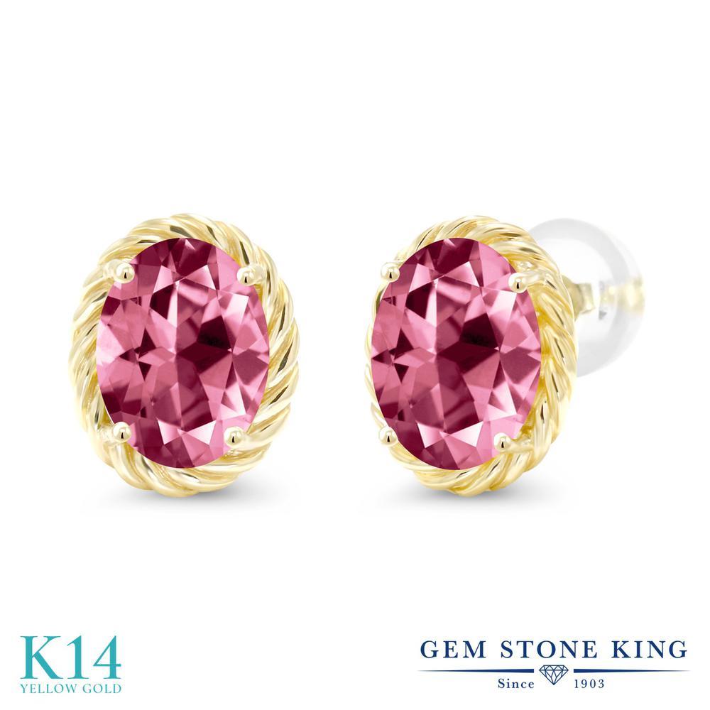 Gem Stone King 2.64カラット 天然石 ピンクトパーズ (スワロフスキー 天然石シリーズ) 14金 イエローゴールド(K14) ピアス レディース 大粒 シンプル スタッド 天然石 金属アレルギー対応 誕生日プレゼント