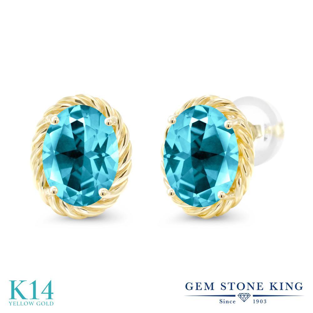 Gem Stone King 2.64カラット 天然石 パライバトパーズ (スワロフスキー 天然石シリーズ) 14金 イエローゴールド(K14) ピアス レディース 大粒 シンプル スタッド 天然石 金属アレルギー対応 誕生日プレゼント