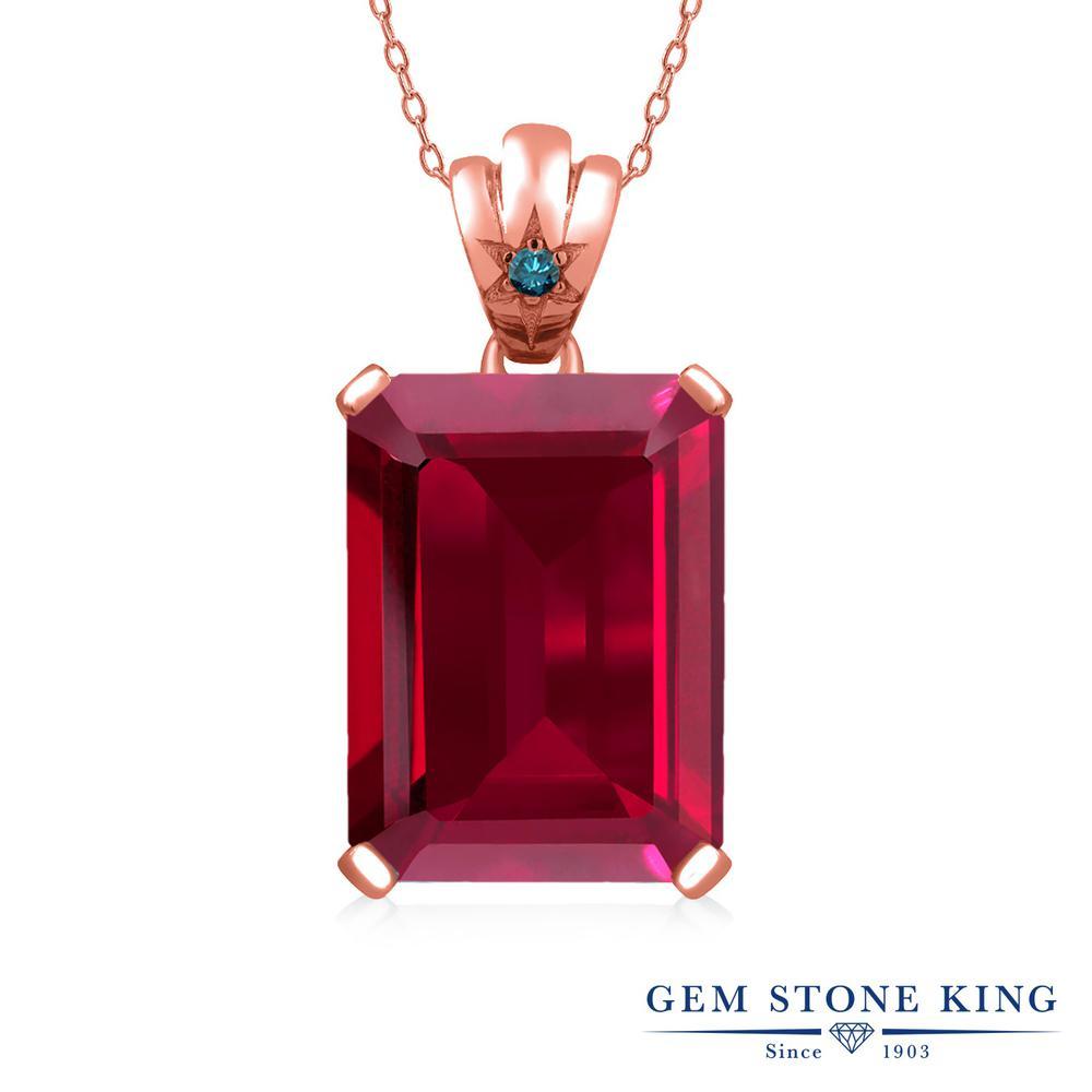 Gem Stone King 17.03カラット 合成ルビー シルバー 925 ローズゴールドコーティング 天然ブルーダイヤモンド ネックレス ペンダント レディース 大粒 シンプル 誕生日プレゼント