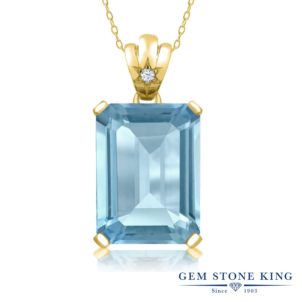 Gem Stone King 15.05カラット 天然 スカイブルートパーズ シルバー925 イエローゴールドコーティング ネックレス ペンダント レディース 大粒 シンプル 天然石 11月 誕生石 金属アレルギー対応 誕生日プレゼント