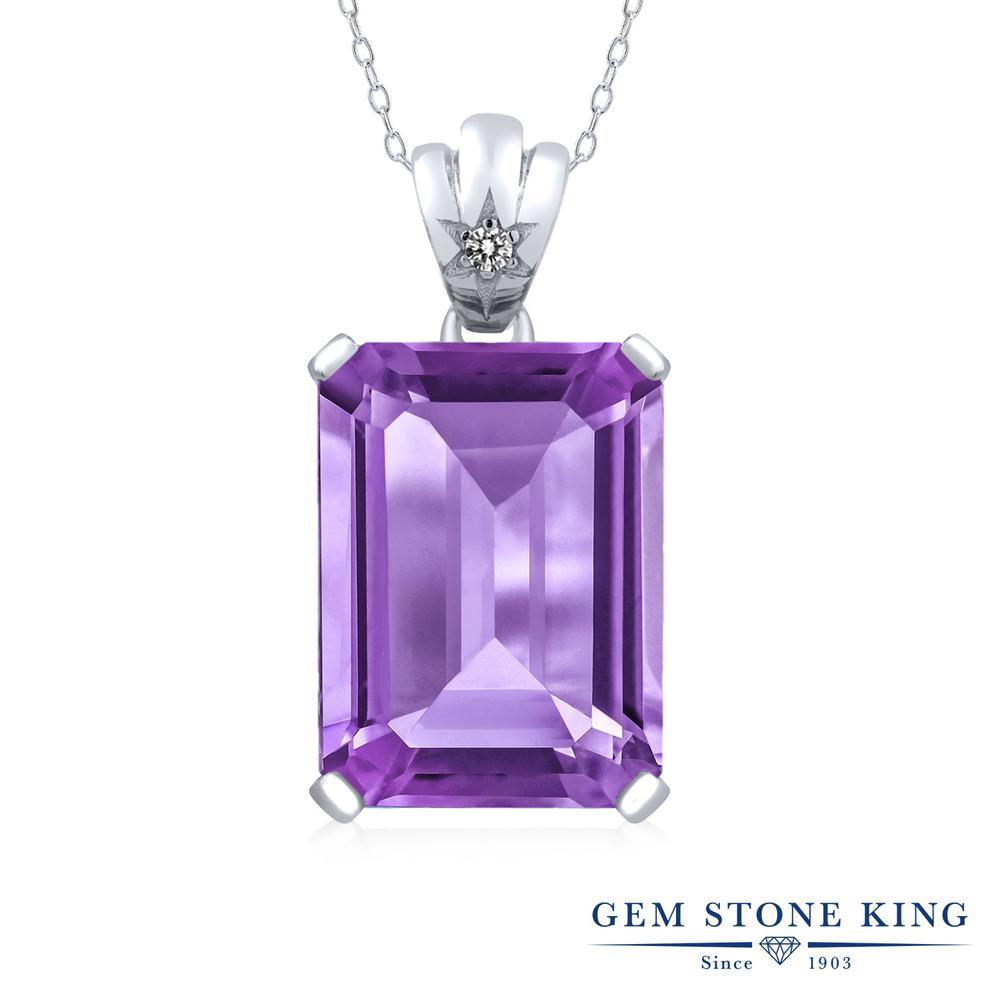 Gem Stone King 15.03カラット 天然 アメジスト 天然 ダイヤモンド シルバー925 ネックレス ペンダント レディース 大粒 シンプル 天然石 2月 誕生石 金属アレルギー対応 誕生日プレゼント